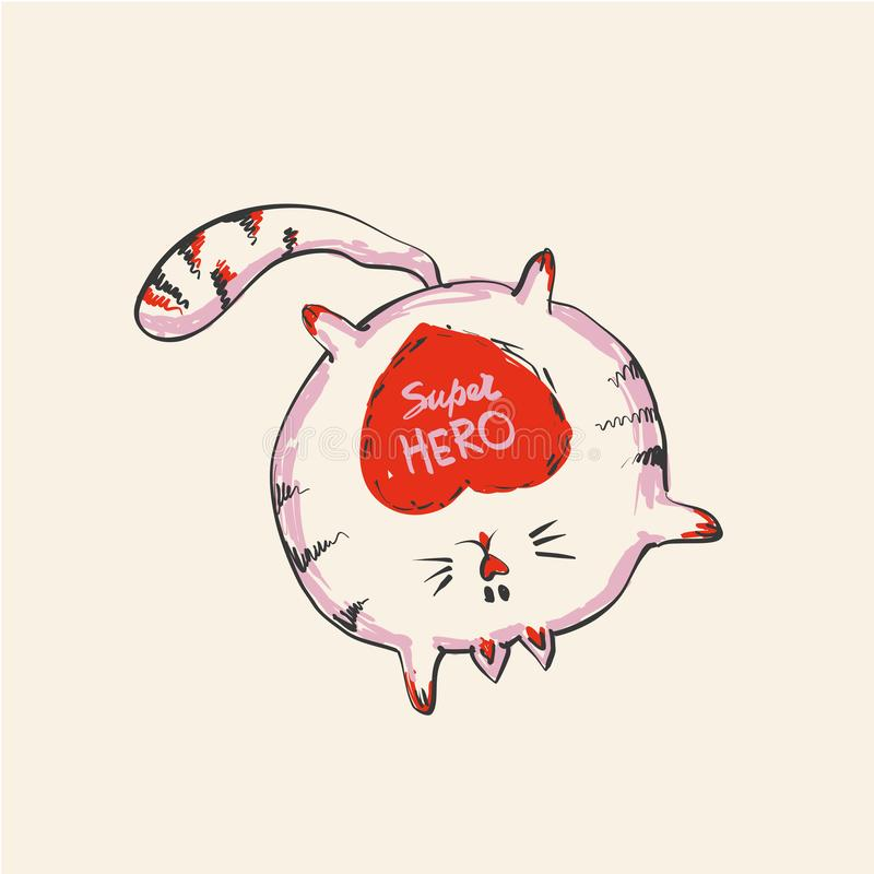 Grappige leuke ronde kat met woord het SUPER HELD blijven op één hand, manierdruk of Web vectorontwerp royalty-vrije illustratie