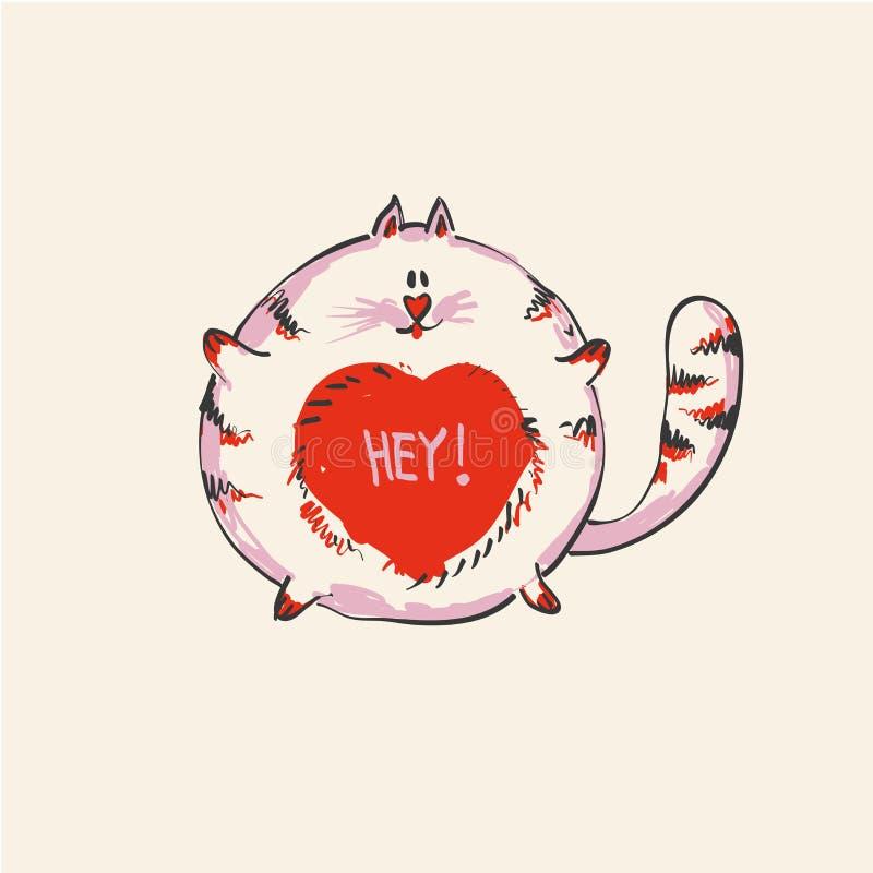 Grappige leuke ronde kat met woord HEY op buik, manierdruk of Web vectorontwerp royalty-vrije illustratie