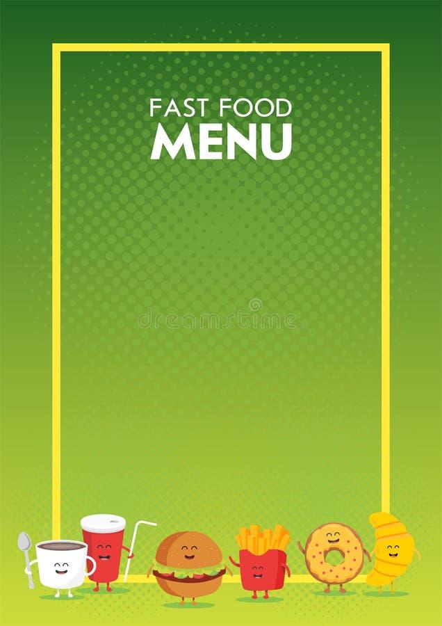 Grappige leuke snel die voedselhamburger, soda, frieten, croissant, doughnut met een glimlach wordt getrokken, ogen en handen Het vector illustratie