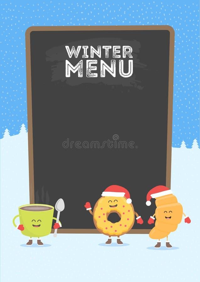 Grappige leuke snel die voedselkoffie, croissant en doughnut met een glimlach, ogen en handen wordt getrokken Kerstmis en Nieuwja stock illustratie