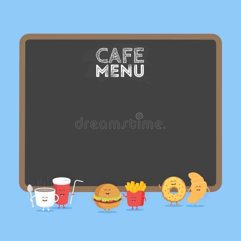 Grappige leuke snel voedselhamburger, soda, frieten, croissant en doughnut die met een glimlach, ogen en handen wordt getrokken H royalty-vrije illustratie