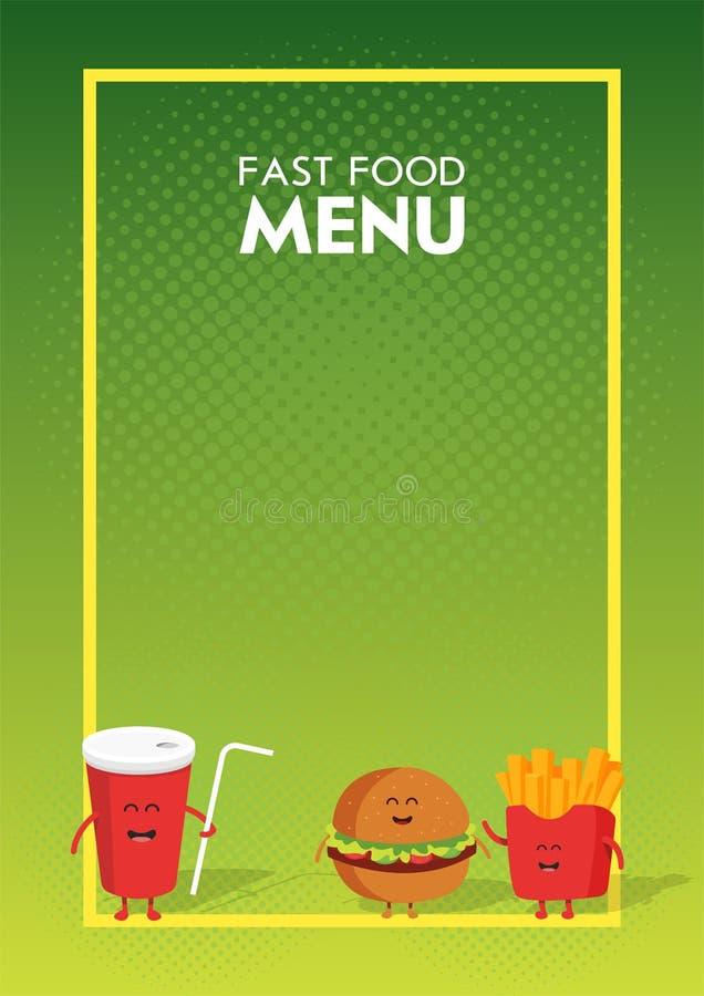 Grappige leuke snel voedselhamburger, soda, frieten die met een glimlach wordt getrokken, ogen en handen Het karakter van het het vector illustratie