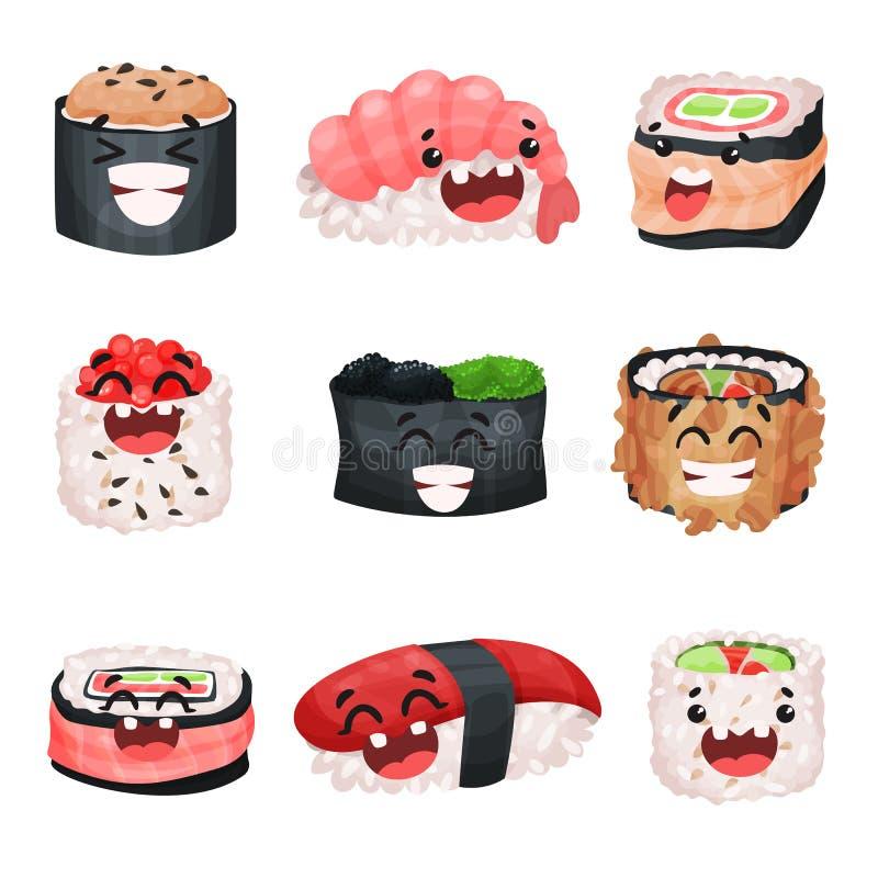 Grappige leuke sushi en sashimibeeldverhaalset van tekens, Japans voedsel met grappige gezichten vectorillustraties royalty-vrije illustratie