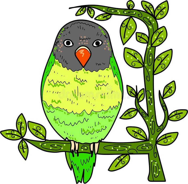 Grappige leuke vogel op takart. stock foto's