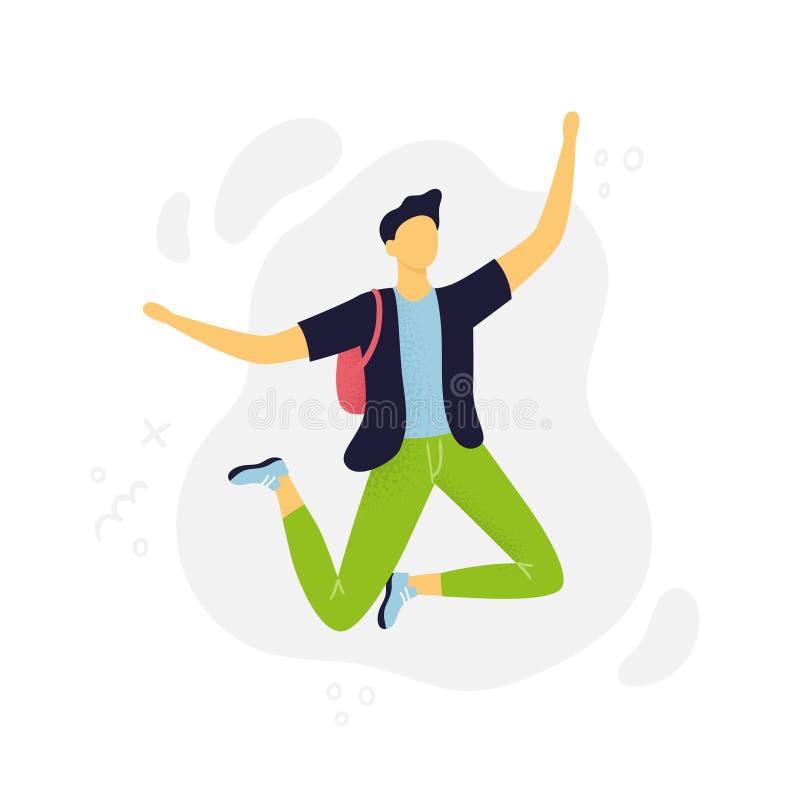 Grappige mens die in de lucht springen Vlak Ontwerp Een abstracte kerel in beeldverhaalstijl vector illustratie