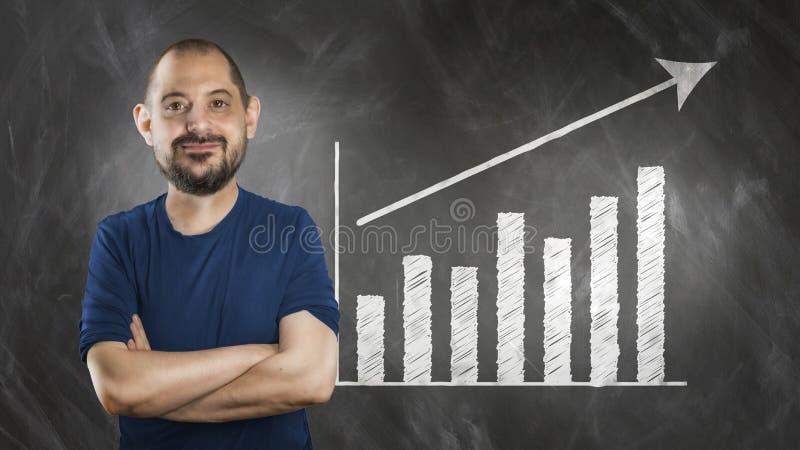 Grappige mens in stripverhaal voor wallboard royalty-vrije stock afbeelding