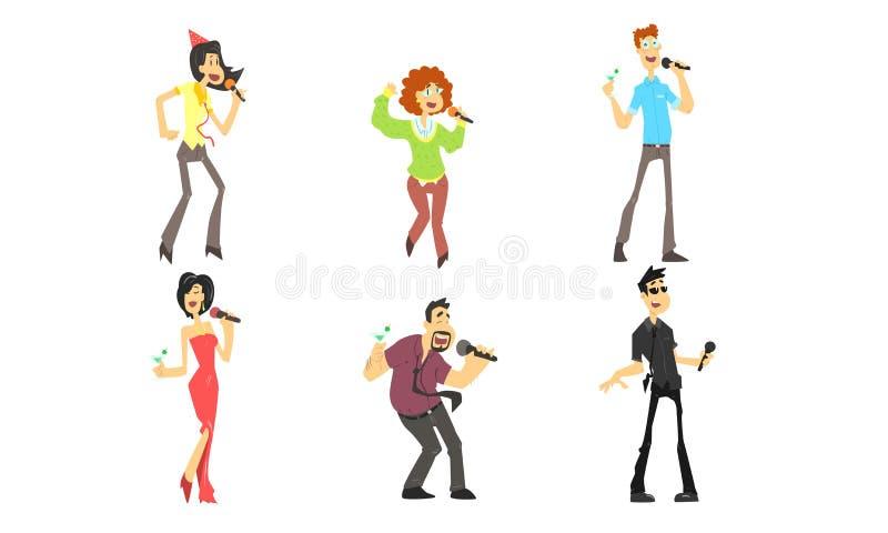 Grappige Mensen die emotioneel met Microfoon, Man en Vrouwen het Zingen Karaoke bij Partij Vectorillustratie zingen stock illustratie