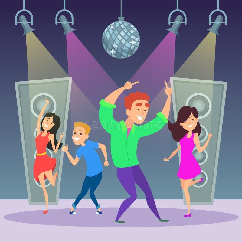 Grappige mensen die op dansvloer dansen De partij van de disco vector illustratie