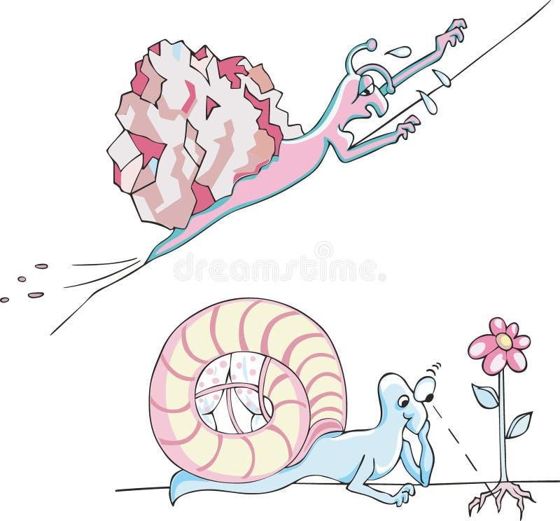 Grappige metaphoric slakken vector illustratie