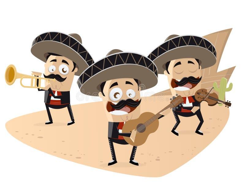 Grappige Mexicaanse mariachiband royalty-vrije illustratie