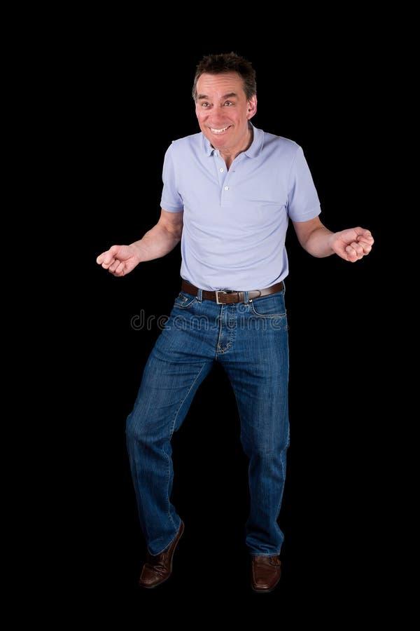 Grappige Middenleeftijdsmens die Dwaze Dans doen stock foto's