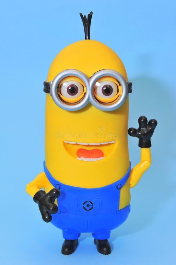 Grappige minion van Kevin - gelukkige begroeting stock fotografie