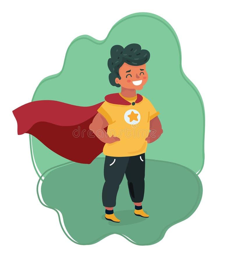 Grappige moedige jongen in Superhero-kostuum royalty-vrije illustratie