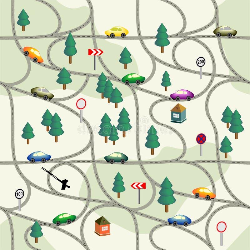 Grappige naadloze patroonweg met auto's, tekens, bomen, huizen vector illustratie