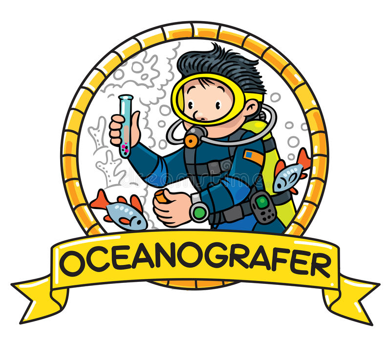 Grappige oceanograaf of duiker embleem stock illustratie