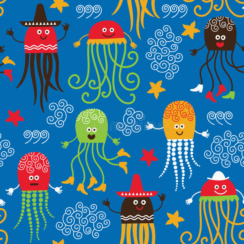 Grappige octopussen stock illustratie