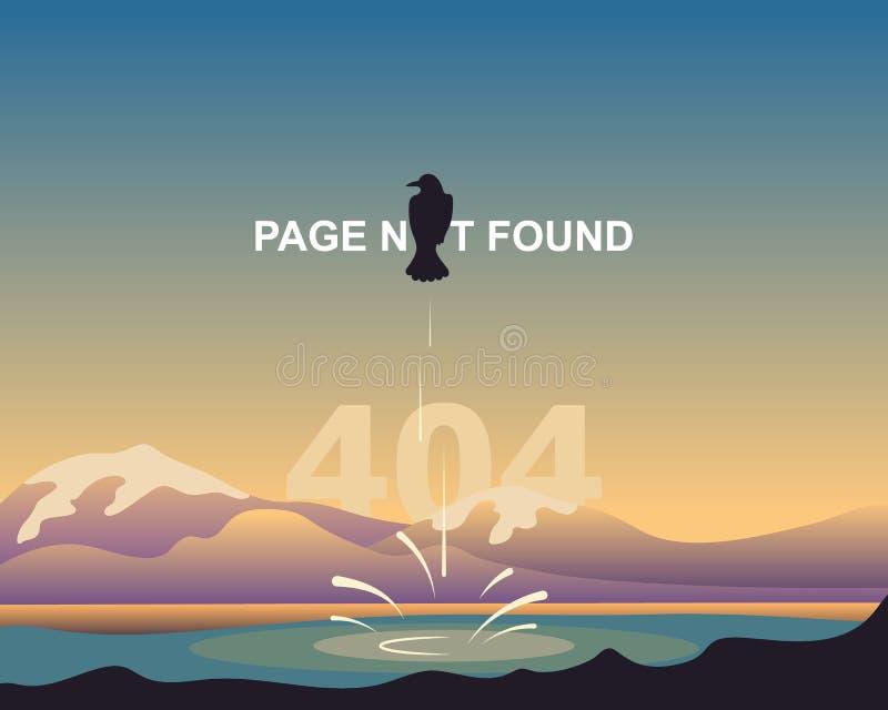 Grappige ontwerppagina 404 Gevonden niet pagina Beeldverhaalkraai op een achtergrond van een abstract landschap van bergen en mer vector illustratie