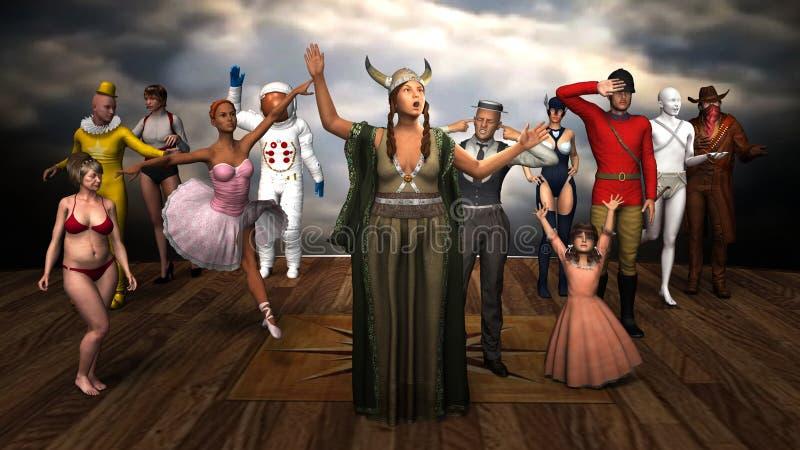 Grappige Operanacht, Vette Dame Sings Illustration royalty-vrije illustratie