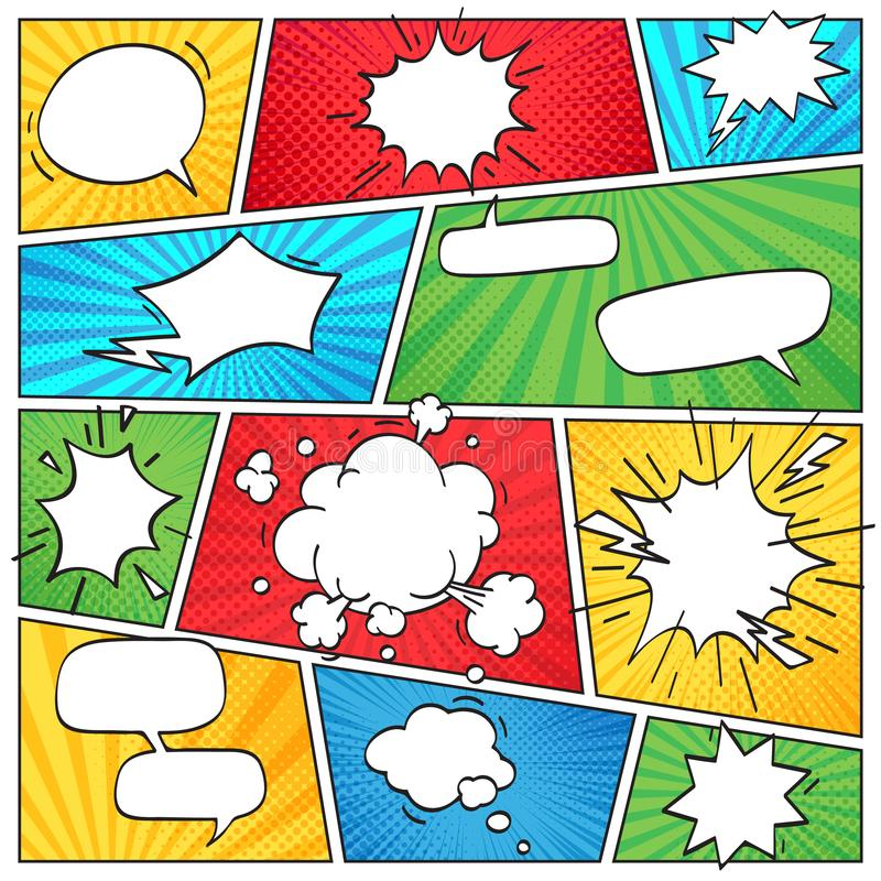 Grappige pagina-indeling De grappige pagina van het strippagina gestreepte plakboek met rookwolken en toespraak borrelt retro vec royalty-vrije illustratie