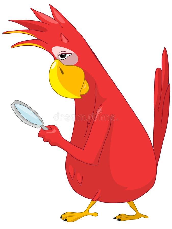 Grappige Papegaai. Zoek. vector illustratie