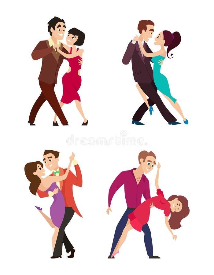 Grappige paren dansende Latijn en foxtrot dans De mannelijke en vrouwelijke karakters isoleren op wit vector illustratie