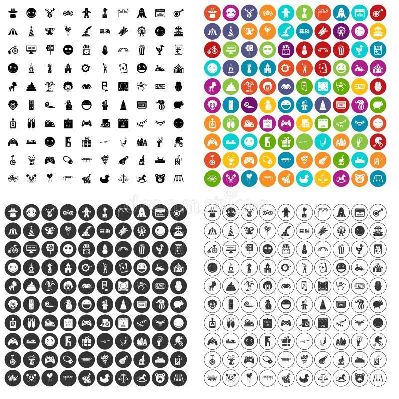 100 grappige pictogrammen geplaatst vectorvariant royalty-vrije illustratie