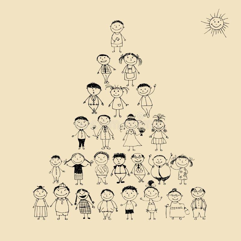Grappige piramide met het gelukkige grote familie glimlachen vector illustratie