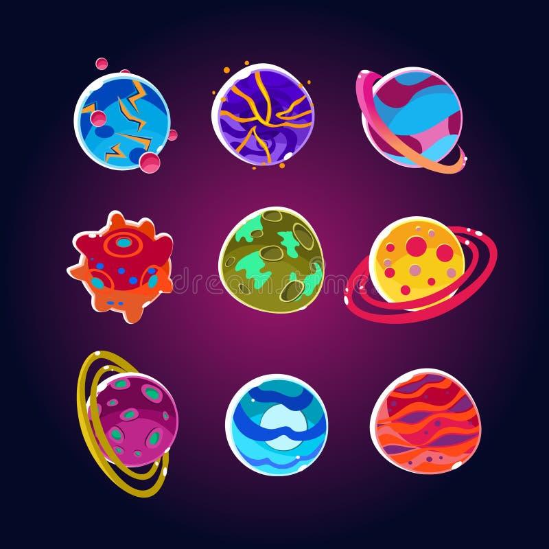 Grappige Planeten en Geplaatste Ruimteasteroïden royalty-vrije illustratie