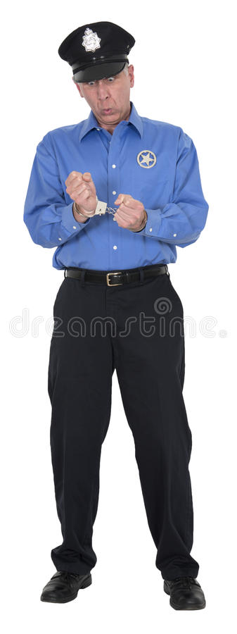 Grappige Politieagent, Cop, Veiligheidsagent, Geïsoleerd Handcuffs stock afbeeldingen