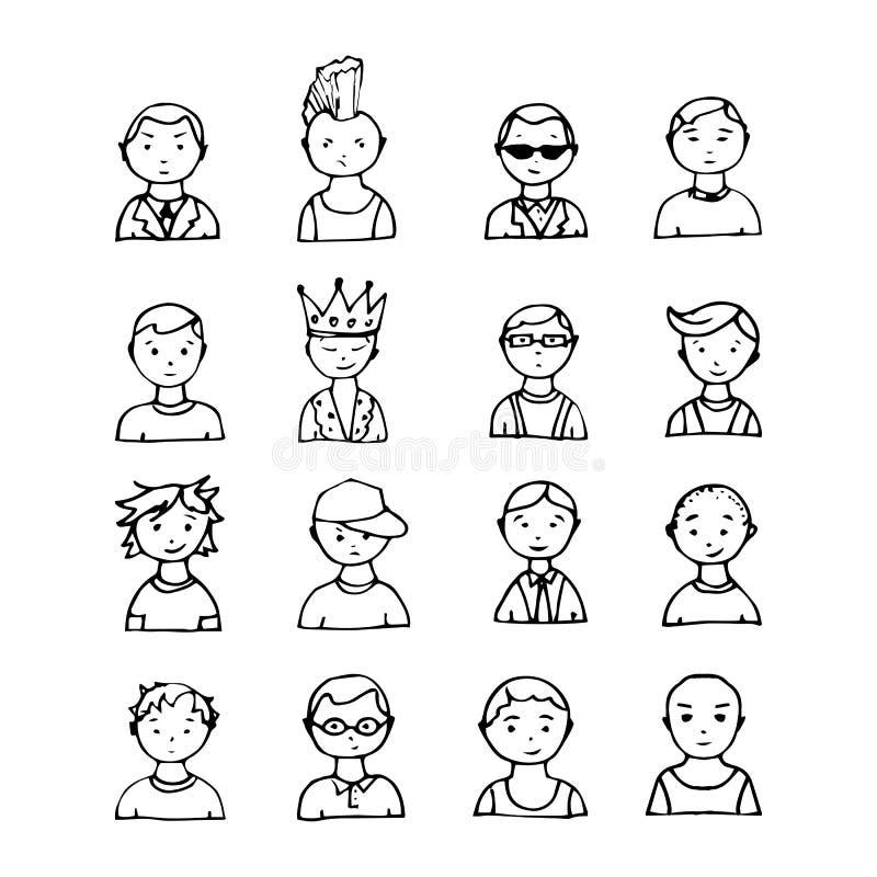 Grappige portretten van leuke jongens royalty-vrije illustratie
