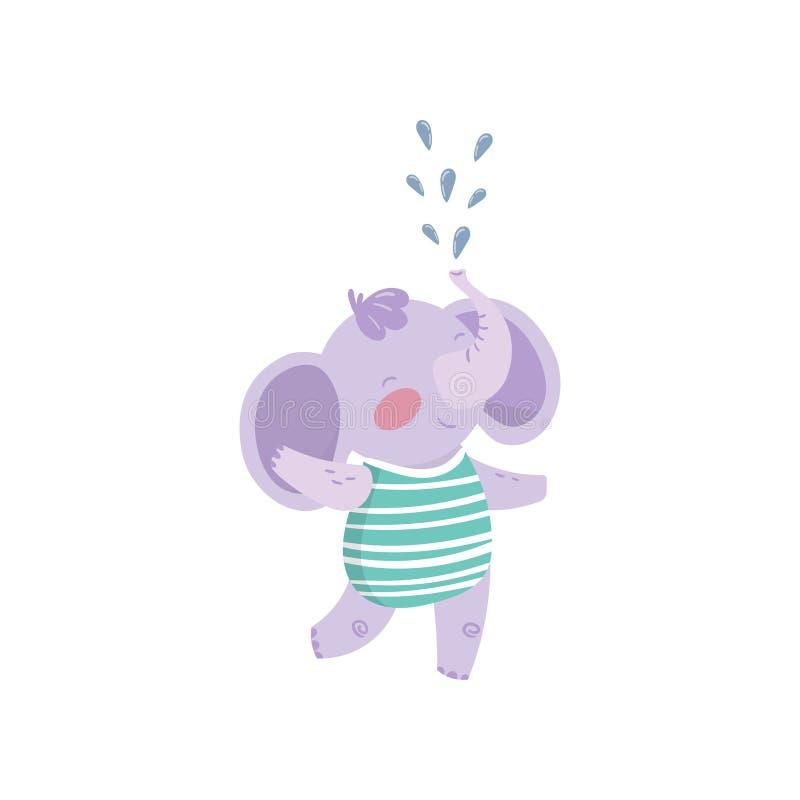 Grappige purpere olifants bevindend en bespuitend water met zijn boomstam Leuk vermenselijkt dier met afluisteraar gekleed in ges royalty-vrije illustratie