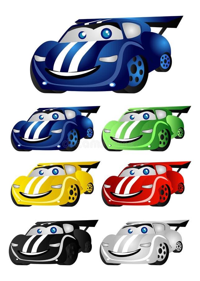 Grappige raceauto's stock illustratie