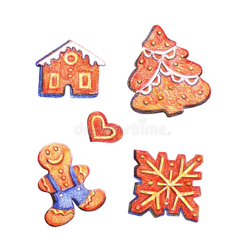 Grappige reeks geïsoleerde koekjes van de Kerstmispeperkoek van het waterverfpotlood De hand trekt illustratie stock illustratie