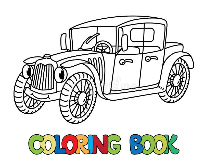 Grappige retro auto met ogen Kleurend boek vector illustratie