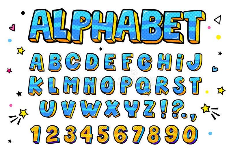 Grappige retro geplaatste brieven Alfabetletters en getallen in stijl van strippagina, pop-art stock illustratie