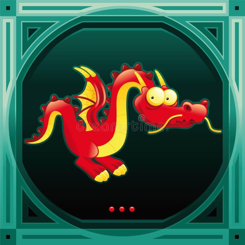 Grappige rode draak royalty-vrije illustratie
