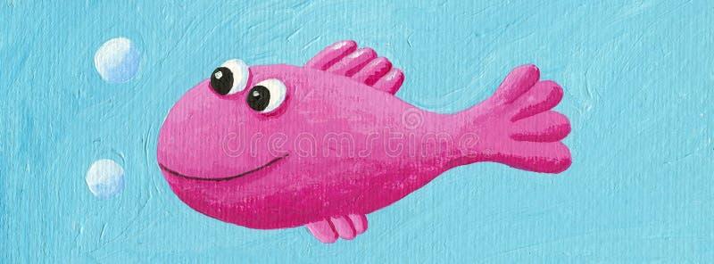Grappige roze vissen stock illustratie