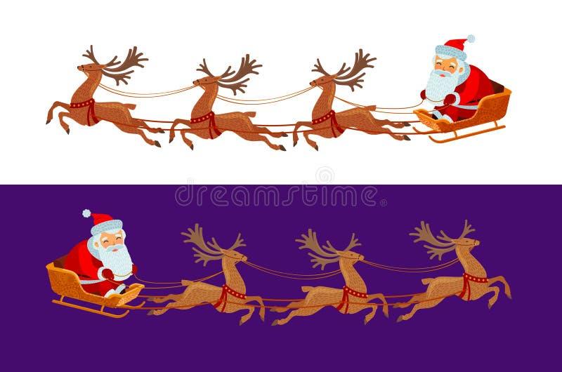 Grappige Santa Claus berijdt in een ar Kerstmistak en klokken De vectorillustratie van het beeldverhaal vector illustratie