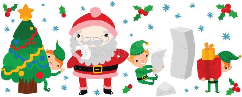 Grappige Santa Reading To Do List vector illustratie