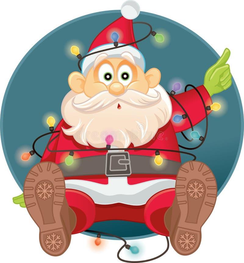 Grappige Santa Tangled in de Vector van Kerstmislichten royalty-vrije illustratie