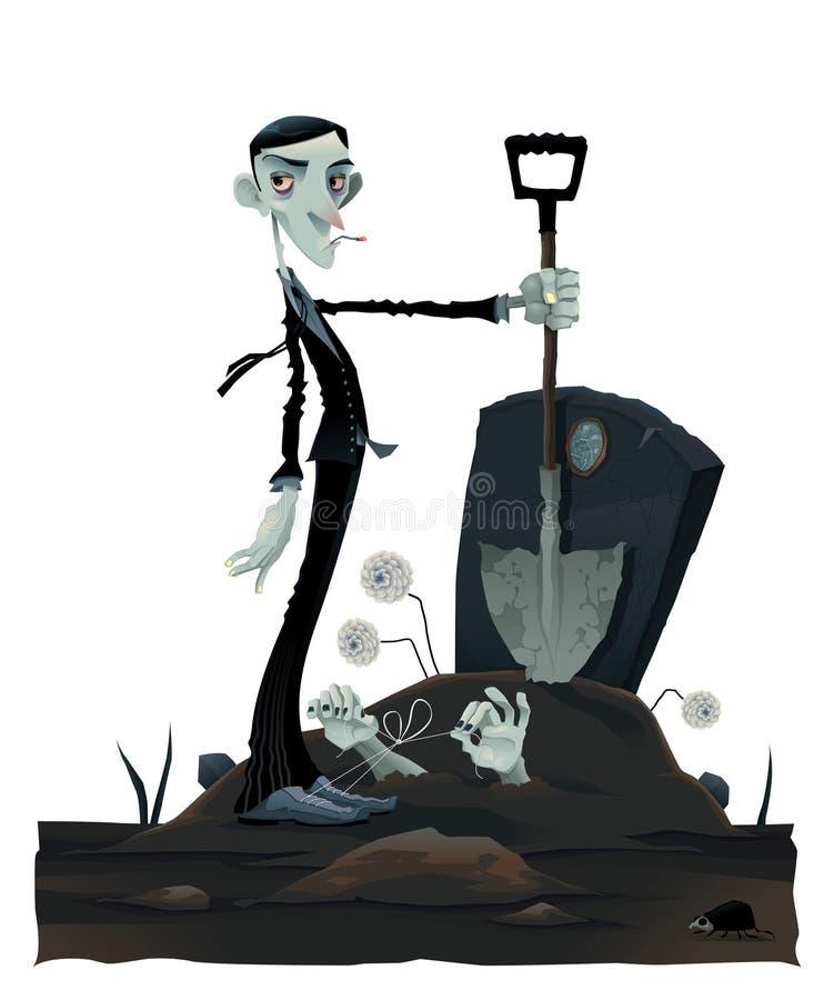 Grappige scène in de begraafplaats. royalty-vrije illustratie