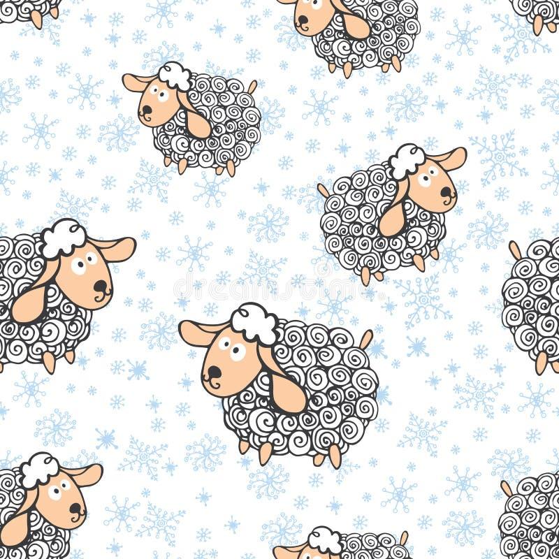 Grappige schapen met sneeuwvlokken Naadloos patroon royalty-vrije illustratie