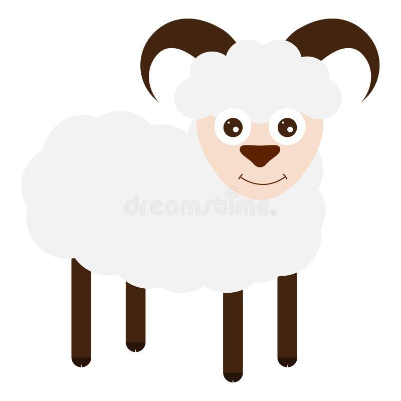 Grappige schapen op een witte achtergrond stock illustratie