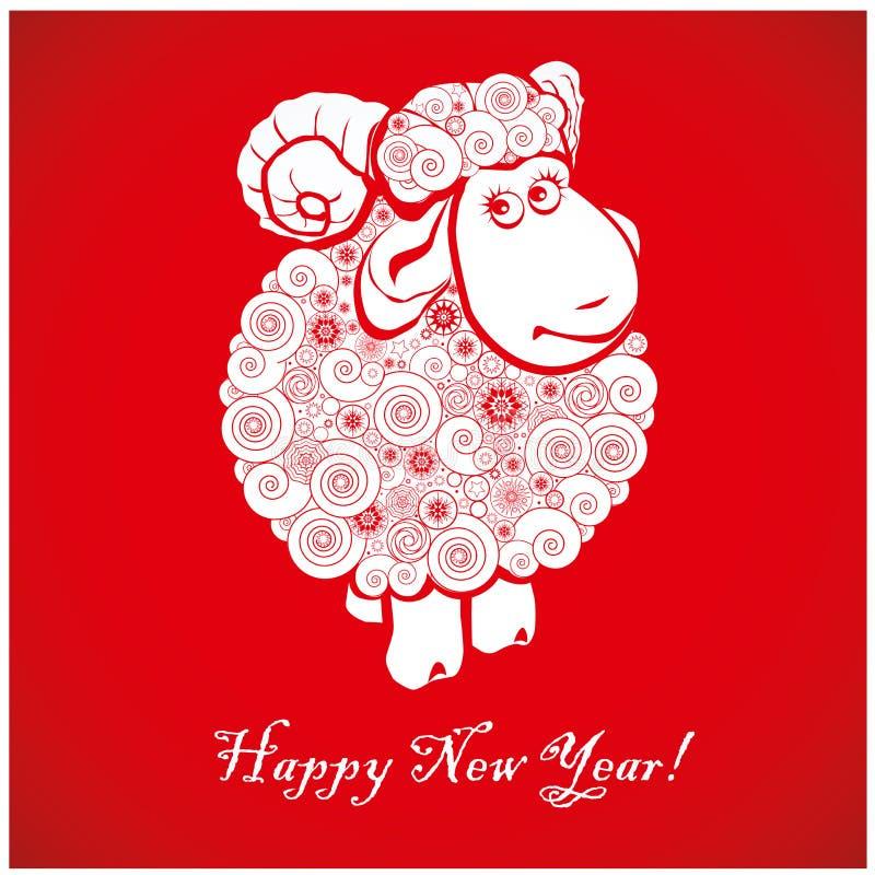 Grappige schapen op heldere rode achtergrond 1 royalty-vrije illustratie