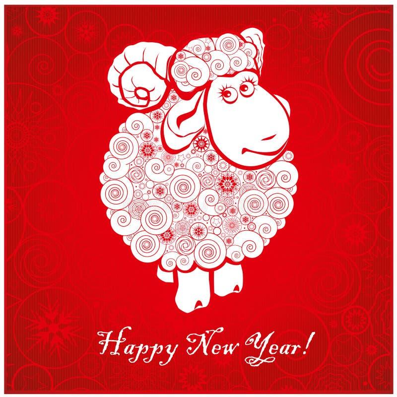 Grappige schapen op heldere rode achtergrond 2 vector illustratie