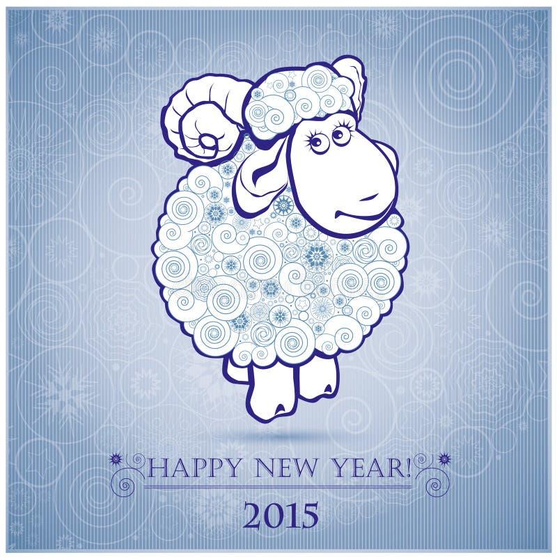 Grappige schapen op witte achtergrond van Sneeuwvlokken 2 stock illustratie