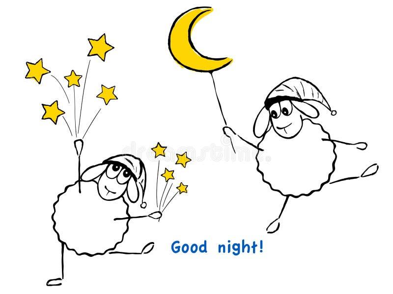 Grappige schapen, sterren en maan, Goede nacht! royalty-vrije illustratie