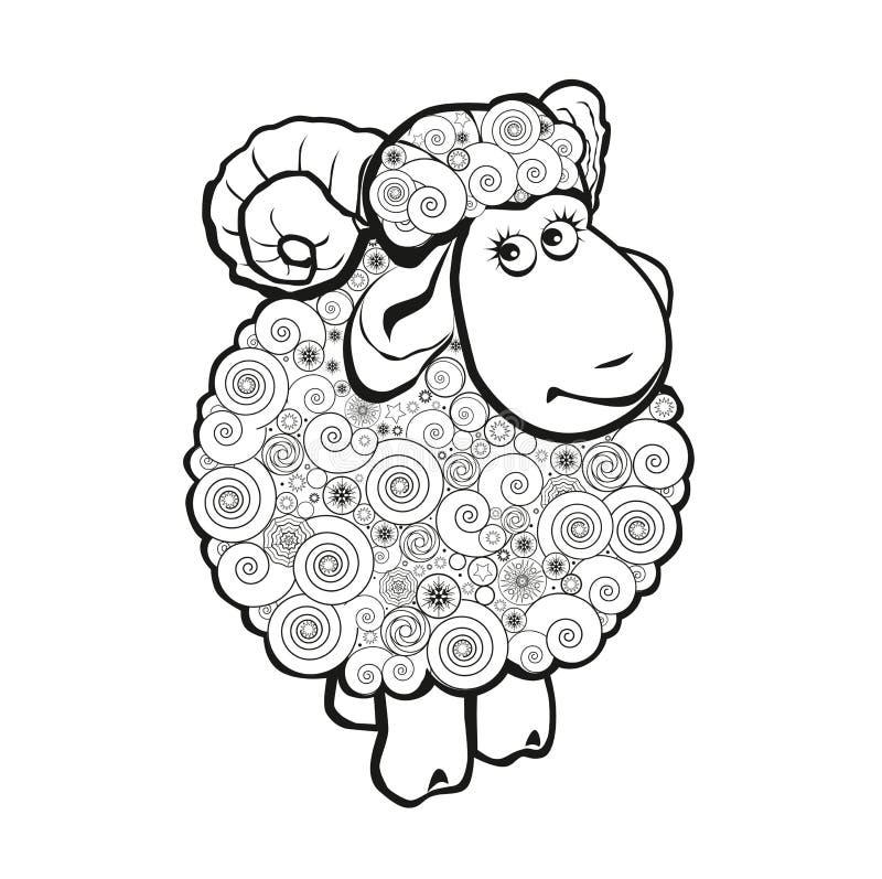 Grappige schapen voor het kleuren van boek royalty-vrije illustratie