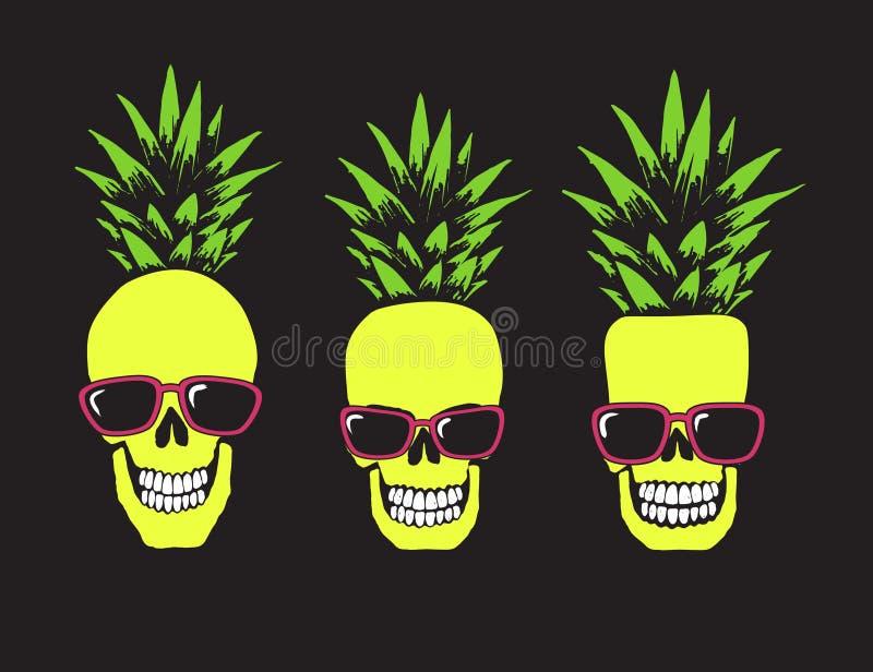 Grappige schedels zoals een ananas vector illustratie
