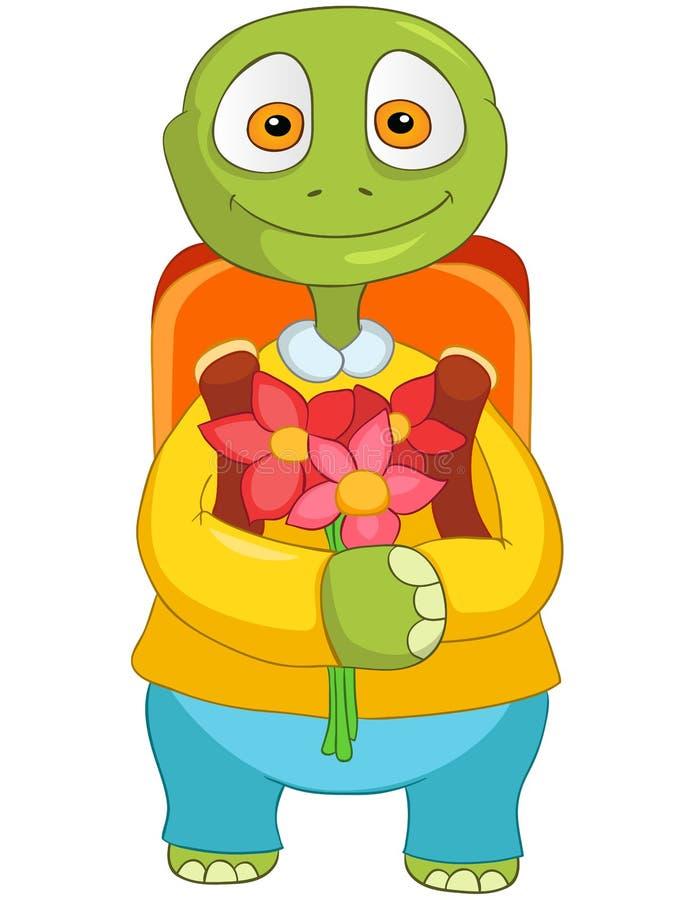 Grappige Schildpad. Terug naar school. vector illustratie